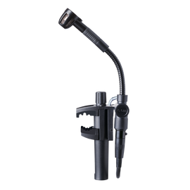 C518 ML - Black - Professional miniature clamp-on condenser microphone with mini XLR to mini XLR cable and A400 adapter plate - Hero